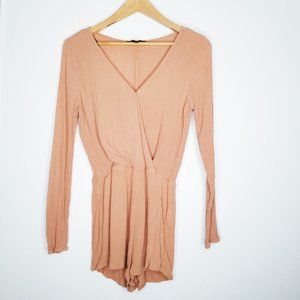 Forever 21  Nude Faux Wrap Long Sleeved Romper